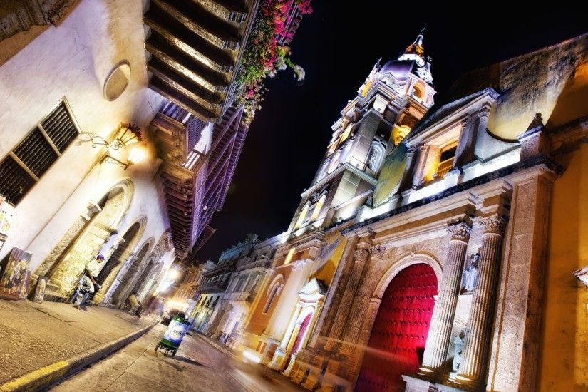 3840x2160 Wallpaper cartagena, colombia, night, street, architecture