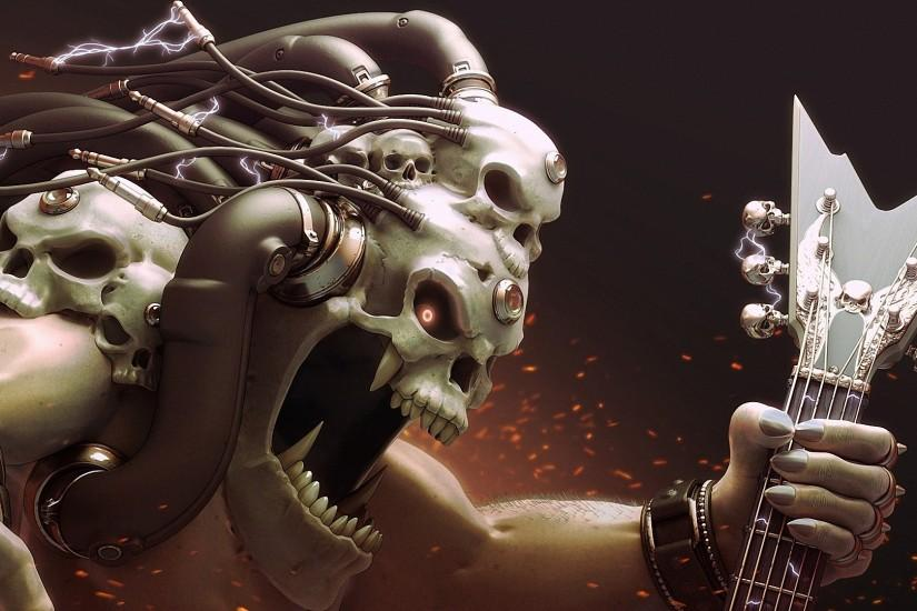 Skull Art wires electricity monster music heavy metal skulls wallpaper |  1920x1080 | 75219 | WallpaperUP