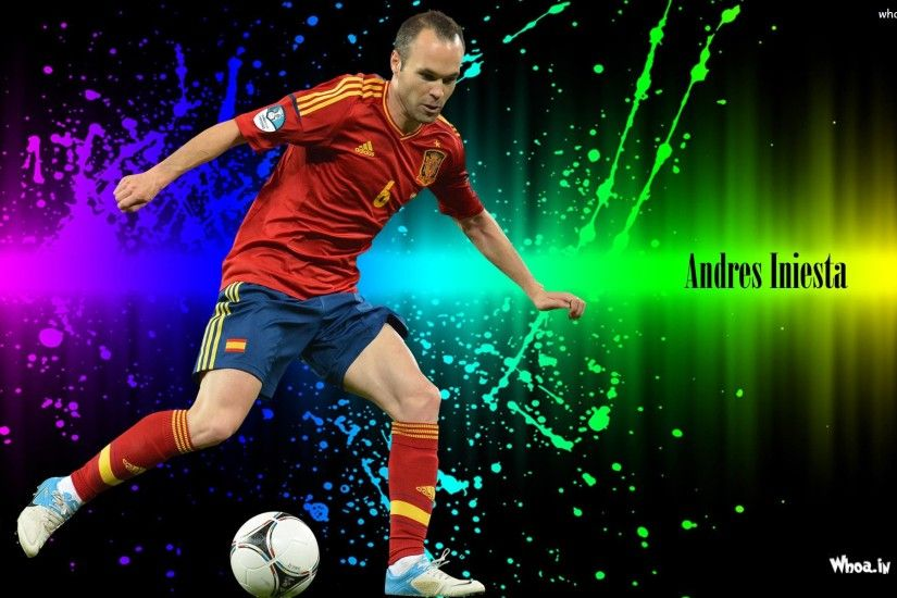 Andres Iniesta About To Kick Ball Andres Iniesta About To Kick Ball  Wallpaper ...