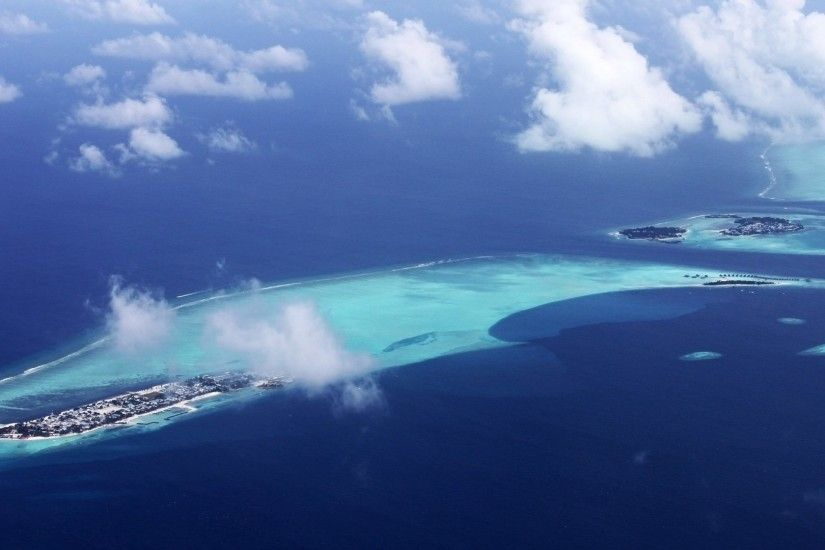 Oceans - Beautiful Oceans View Islands Maldives Nature Paradise Bird  Eyeview Birds Eye Clouds Ocean Pictures