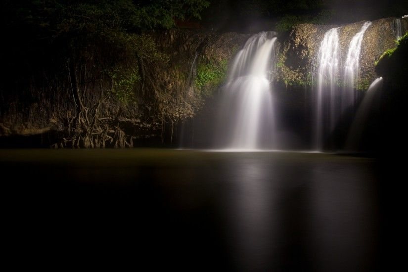 dark nature wallpaper | Landscapes Nature Dark Night Waterfalls Fresh HD  Wallpaper