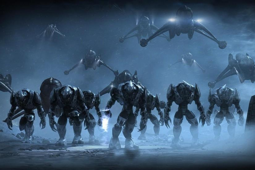Preview wallpaper halo, army, airships, night 3840x2160