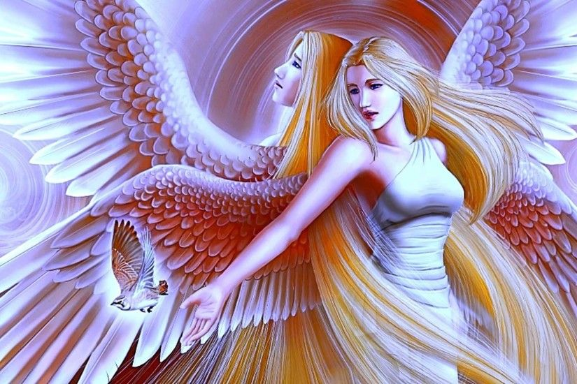 Beautiful large wing angels wallpaper.