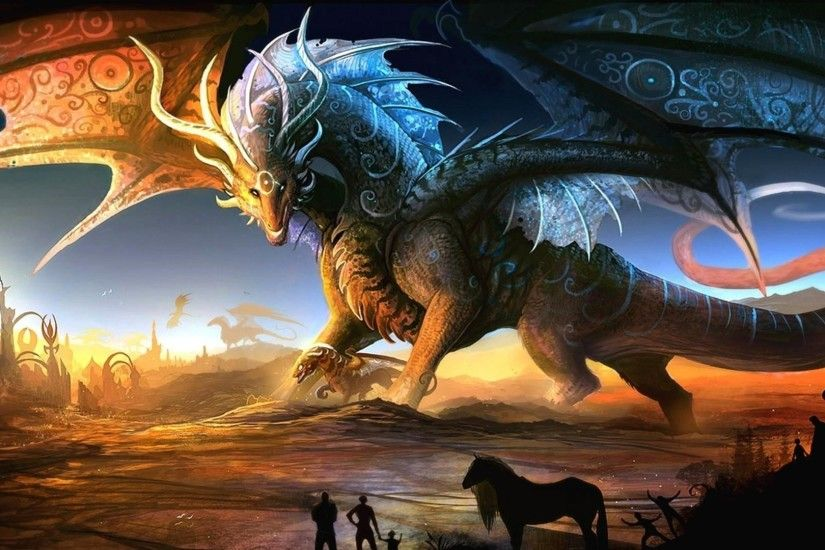 Preview wallpaper dragons, mother, cub, people, animals, sunset 1920x1080
