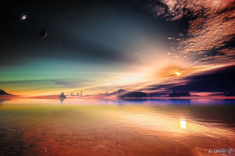 art alien planet rocks sky stars lakeslandscape reflection sunset .
