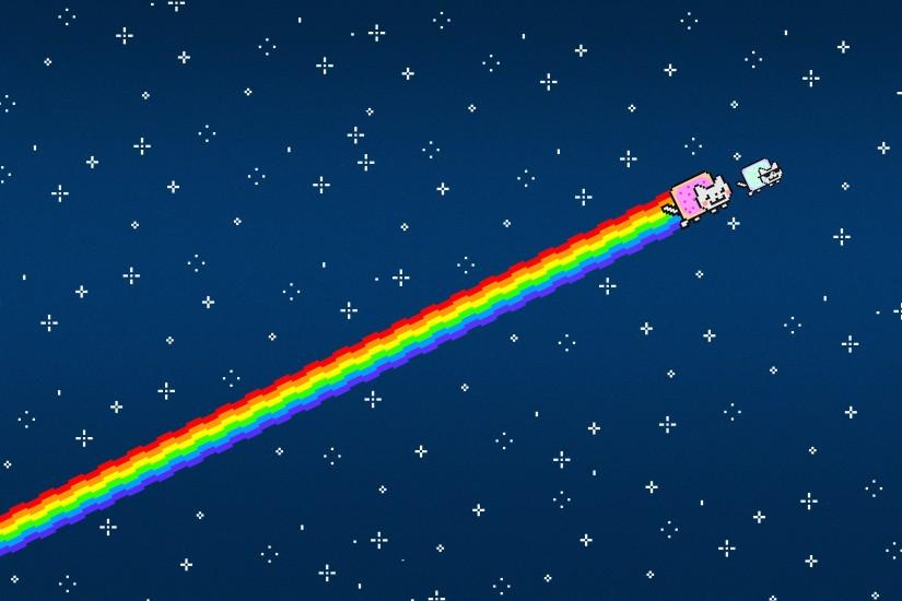 Nyan Cat, Simple, Simple background, Minimalism, Sky Wallpaper HD