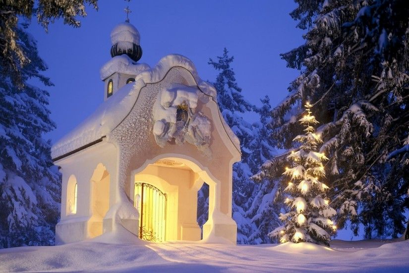 Small church in the snowy forest wallpaper 1920x1080 jpg