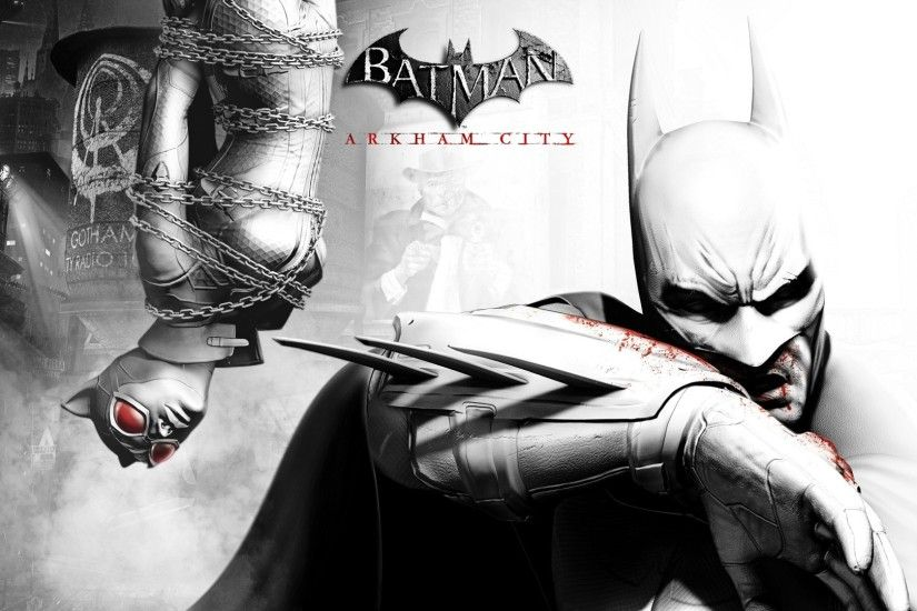 1920x1080 Wallpaper batman arkham city, batman, catwoman