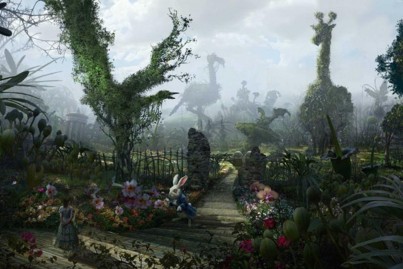 beautiful alice in wonderland wallpaper 3500x1489