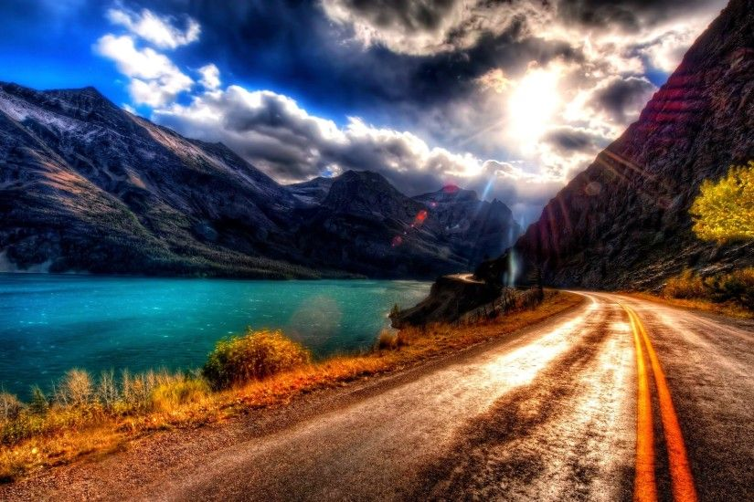 Road Sunshine Sunny Sky Nature Lake Amazing Beautiful Clouds Scenic  Mountains View Sun Mountain Wallpaper Backgrounds