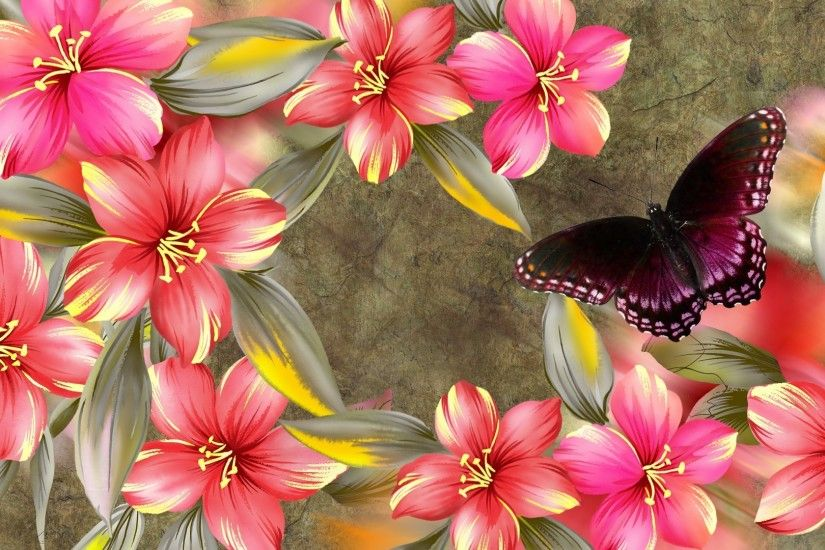 Fragrant Papillon Marble Hibiscus Summer Butterfly Spring Floral Flowers  Desktop Wallpapers Free Download - 1920x1080