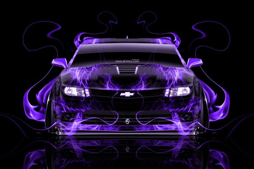 Chevrolet-Camaro-Z28-Muscle-Front-Violet-Fire-Abstract- ...