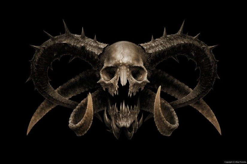 1920x1080 Arts Skull The Devil Horns Fear Skull Horror Wallpaper At Dark  Wallpapers