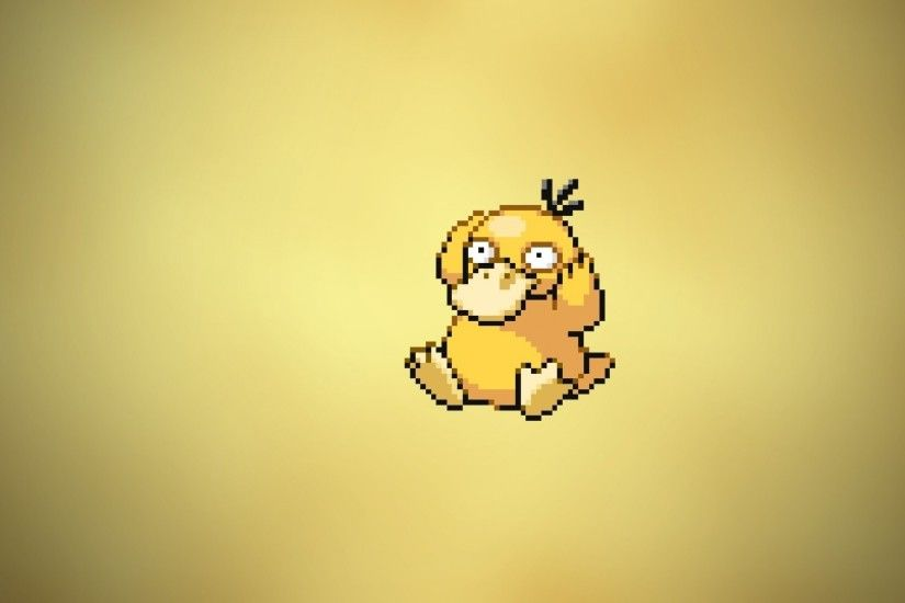 pokemon video games minimalistic yellow psyduck anime simple background  1366x768 wallpaper Wallpaper HD