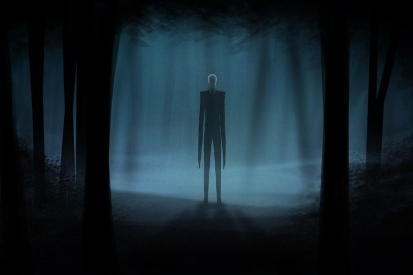 Slender Man Creepy Dark videogames dark horror trees forest wallpaper .