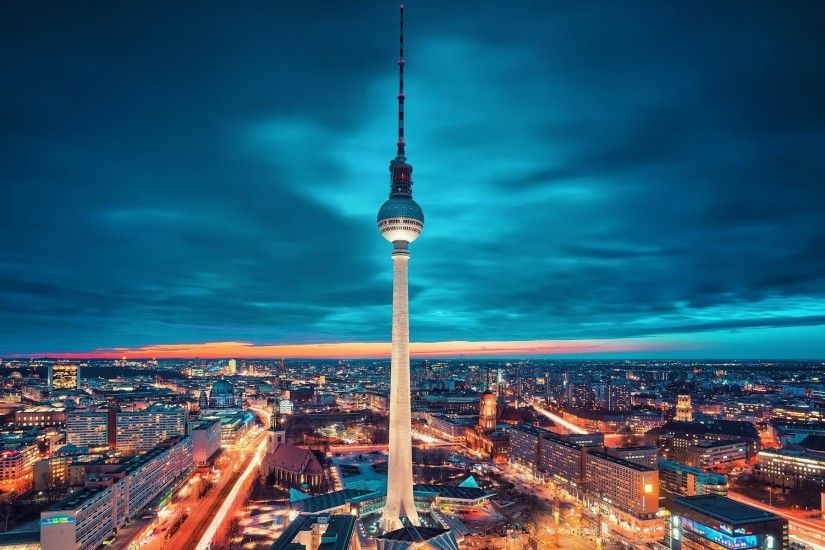 cityscape, Lights, Tower, Berlin, Clouds, Night, Germany Wallpapers HD /  Desktop and Mobile Backgrounds