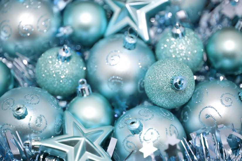 Cyan blue Christmas bauble and star background for your seasonal greetings