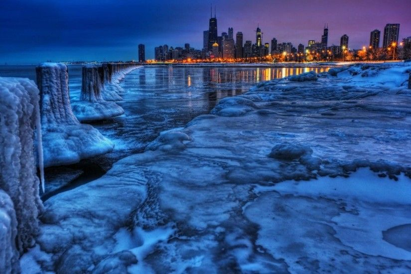 ... chicago skyline wallpaper. Frozen water. chicago pictures ...
