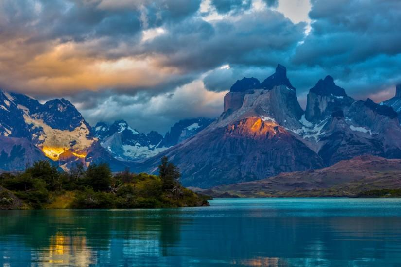 Preview wallpaper landscape, argentina, mountain, lake, patagonia, clouds,  nature 1920x1080