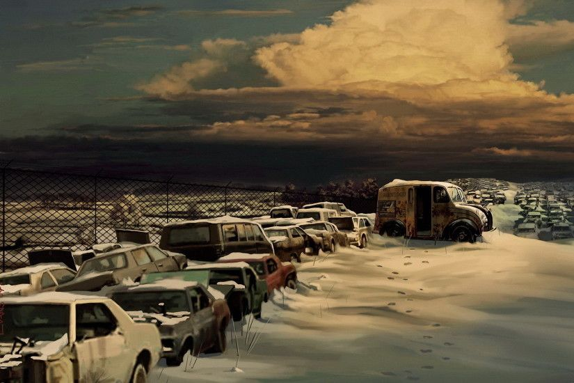 Sci Fi - Post Apocalyptic Winter Car Graveyard Wallpaper