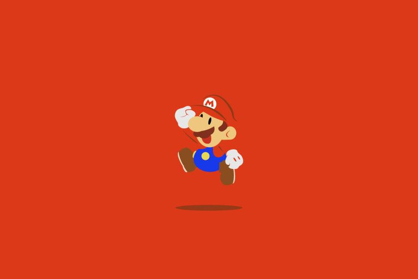 Red desktop wallpaper with Super Mario jumping.