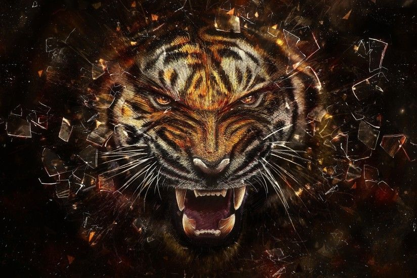 Preview wallpaper tiger, glass, shards, aggression, teeth 2560x1440