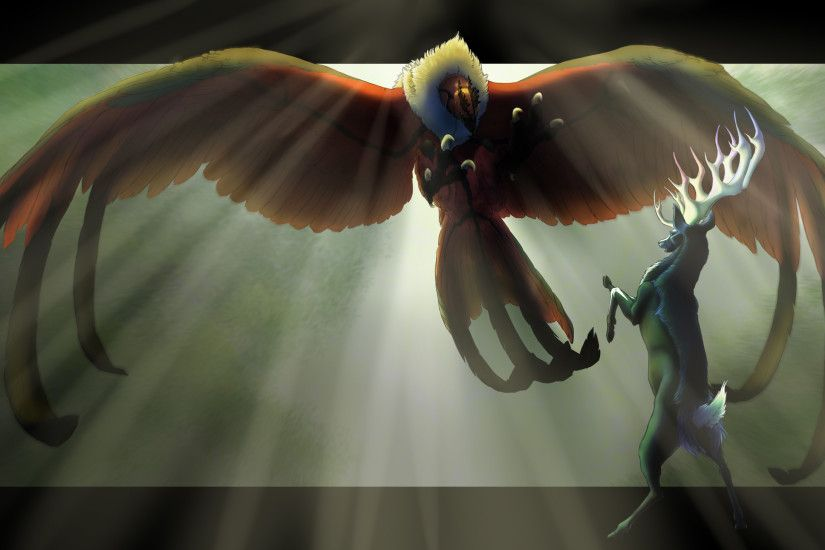 Pokemon Fan Art (Yveltal and Xerneas by finiens.deviantart.com on  @DeviantArt