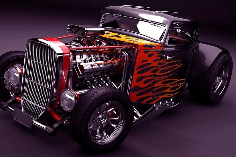 Hot rod with flames wallpaper