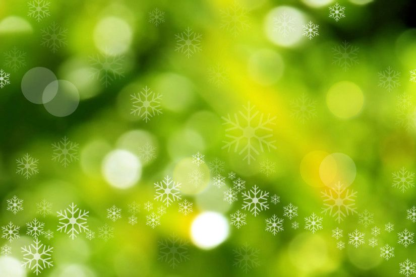 Christmas Backgrounds | Green Christmas Background with Bokeh and  Snowflakes Scatters .