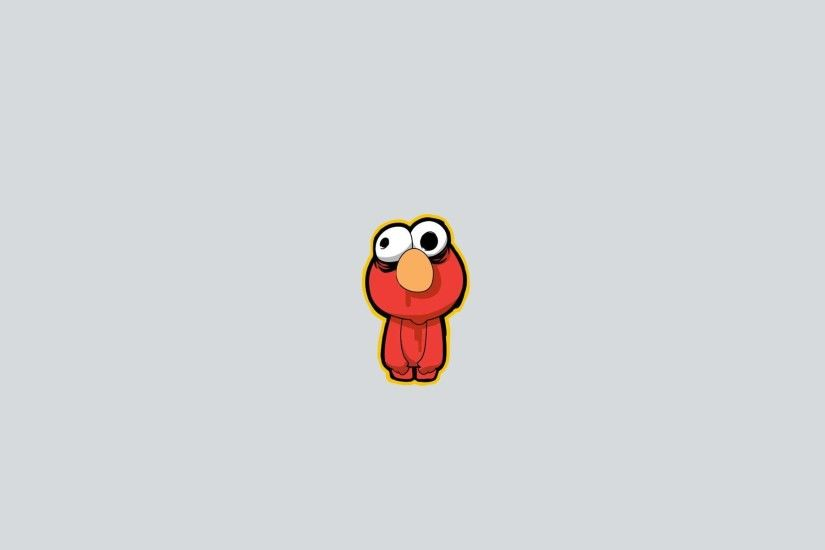 Elmo from Sesame Street, a gray background