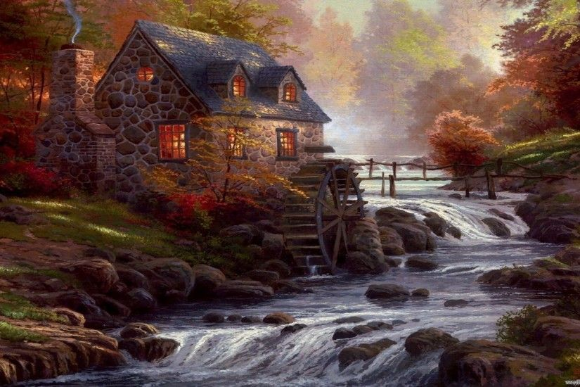 Thomas Kinkade Desktop Wallpaper - Wallpapers Browse Classic Christmas  Painting by Thomas Kinkade ❤ 4K HD Desktop .