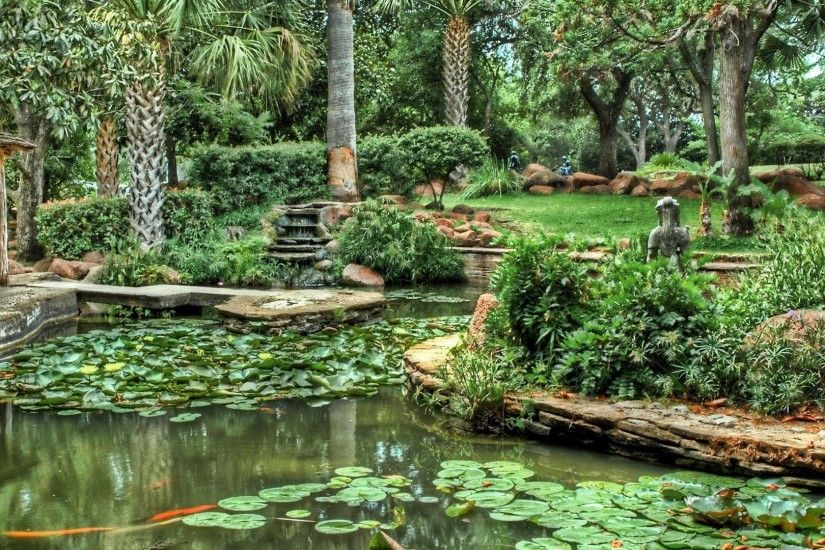 Pads Tag - Tranquillity Gardens Serenity Peaceful Pergola Tree Ferns Pool  Water Lilies Stone Orange Cascade