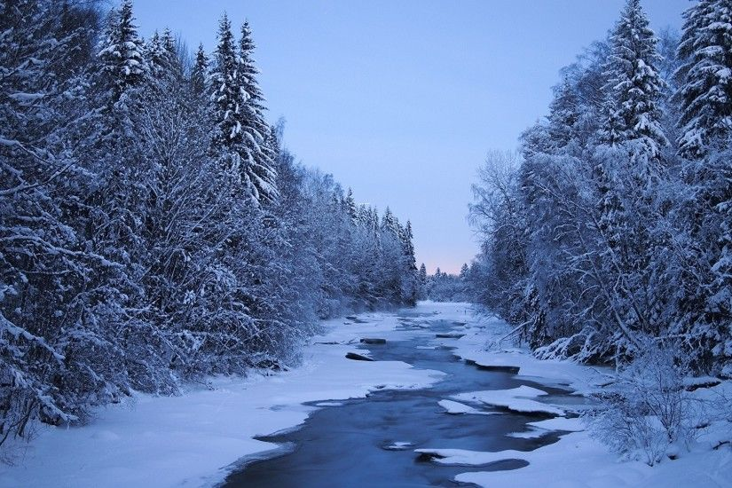 Pictures Finland Nature Winter Snow Forests Rivers Trees 1920x1080