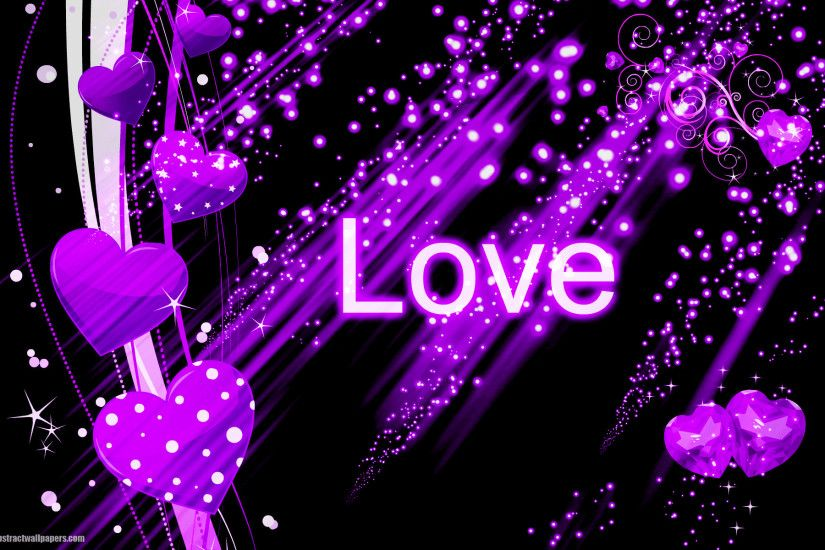 Beautiful black abstract wallpaper with purple love hearts and the text love.  Send this background to your boy or girlfriend, just to say that you are ...