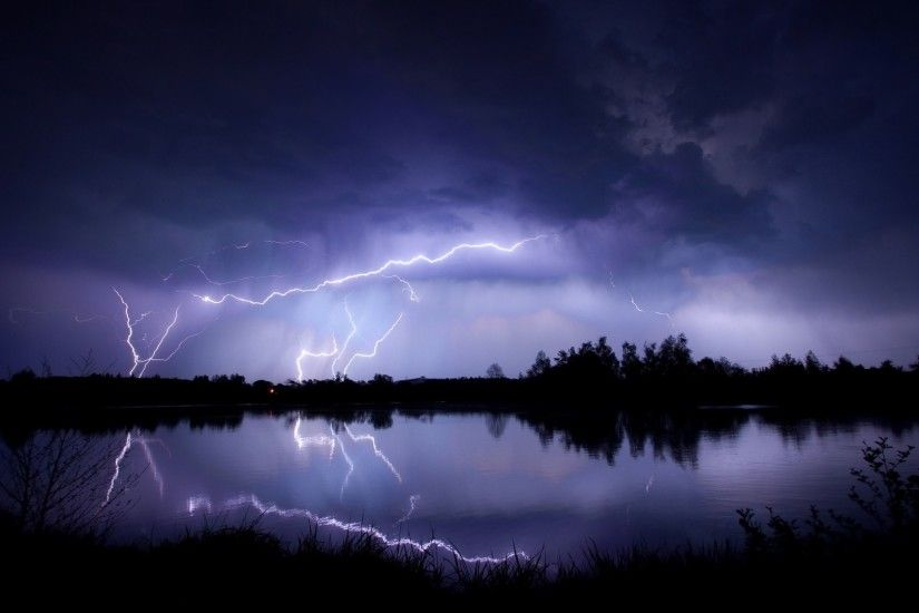 1920x1080 Wallpaper lightning, water, reflection, elements, night, lake