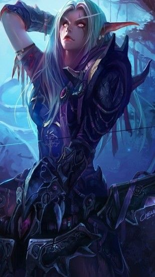 Preview wallpaper world of warcraft, girl, elf, bow 1080x1920