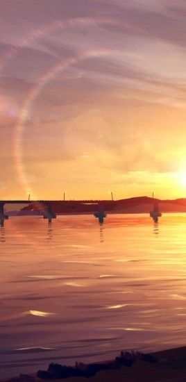 Anime Landscape, Sunset, Bridge, River, Sky, Lens Flare