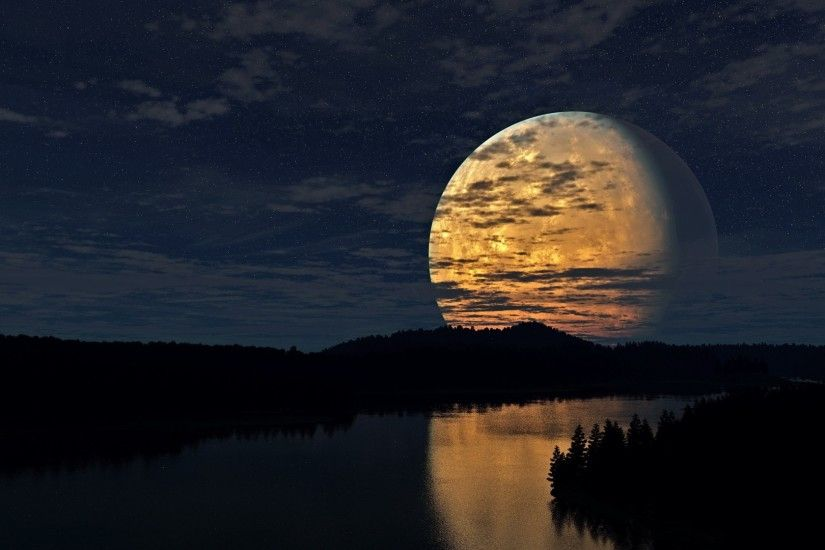 1920x1080 Wallpaper night, sky, moon, trees, river, reflection