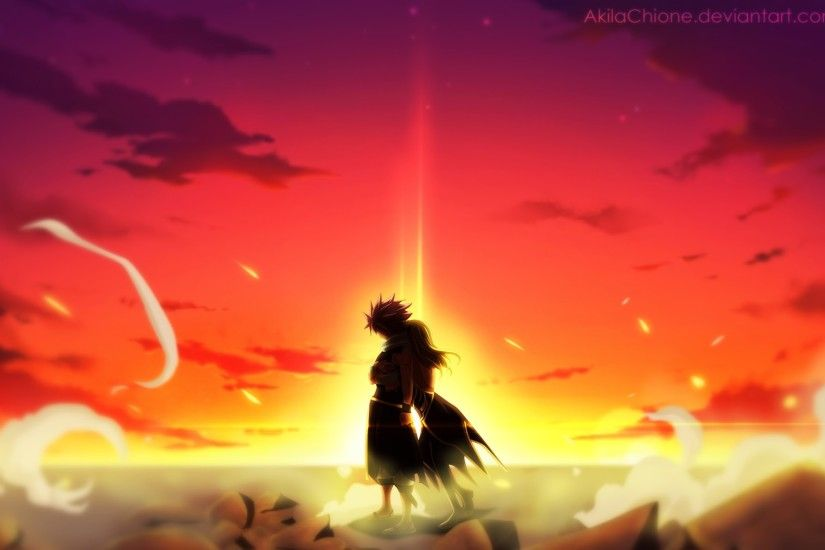 ... natsu lucy hug sunset fairy tail anime hd wallpaper 1920x1200 b025.