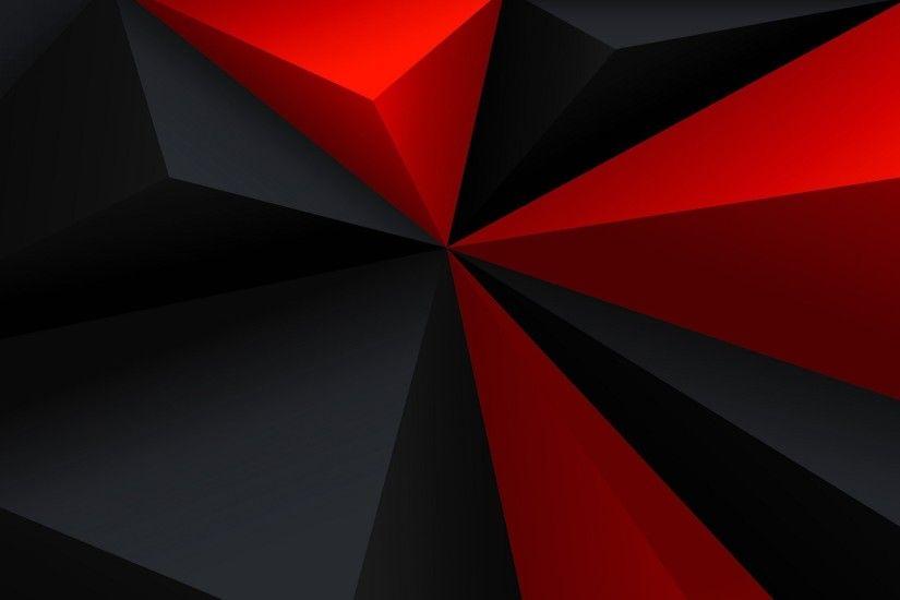 Digital Art Minimalism Low Poly Geometry Triangle Red Black