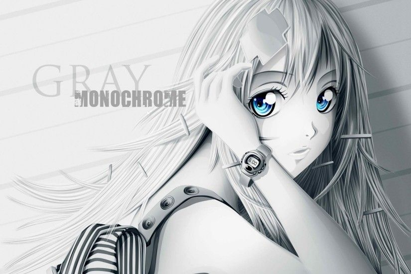 Cute Anime Girl Blue Eyes Original Gray HD Wallpaper