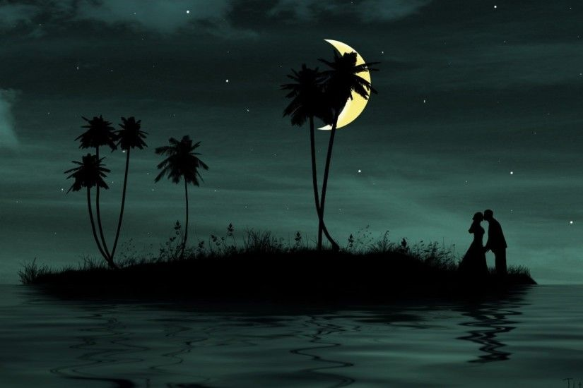 night-moon-couple-palm-kiss-dream-grass.jpg (1920×1080) | L❤VE YOU |  Pinterest | Wallpaper, Couples images and Hd desktop