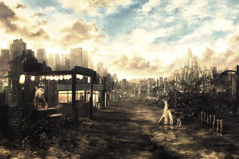 Post-apocalyptic anime city wallpaper
