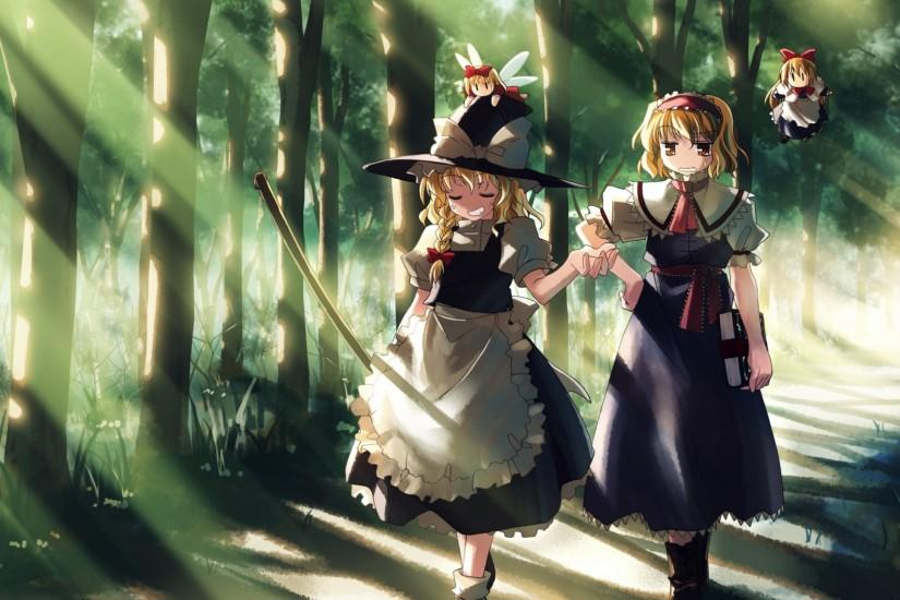 Preview wallpaper girl, witch, walk, being, forest 1920x1080
