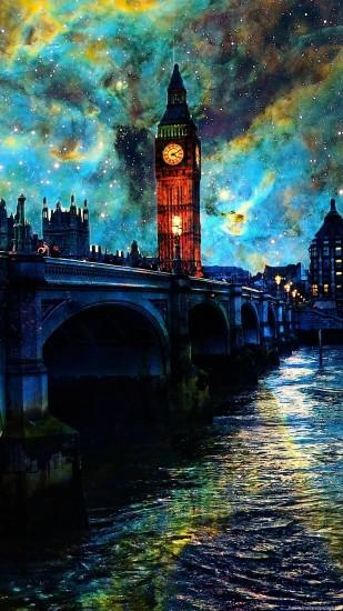 HD river night water clouds sky london iphone 6 wallpaper