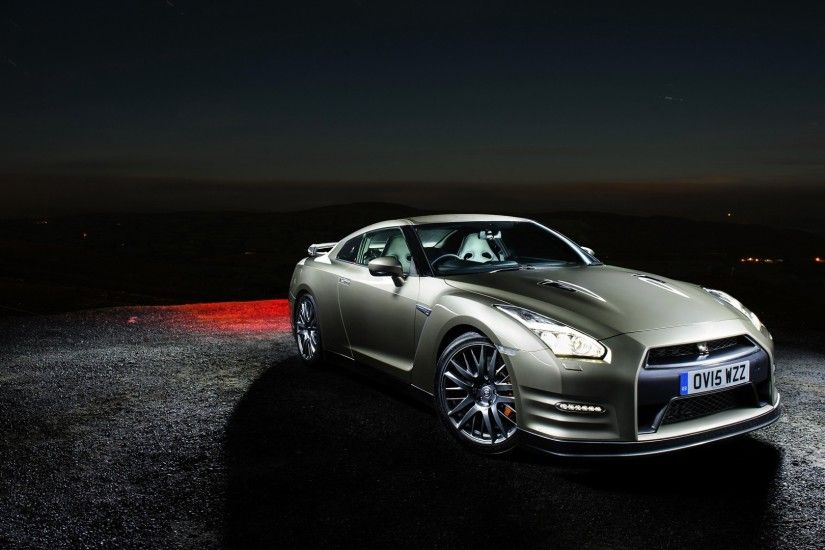 Preview wallpaper nissan, gt-r, side view, night 1920x1080