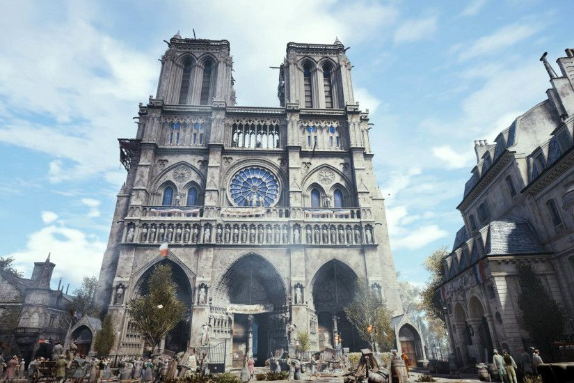 Beautiful Cathedral of Notre-Dame de Paris, Assassin's Creed Unity  1920x1080 wallpaper