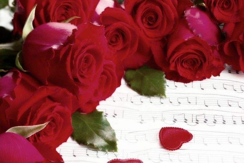 Hearts Tag - Valentine Hearts Notes Music Heart Holiday Red Roses Flower Hd  Cover for HD
