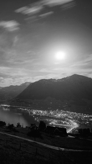 Lake Mountain Sunlight Black And White City Android Wallpaper ...