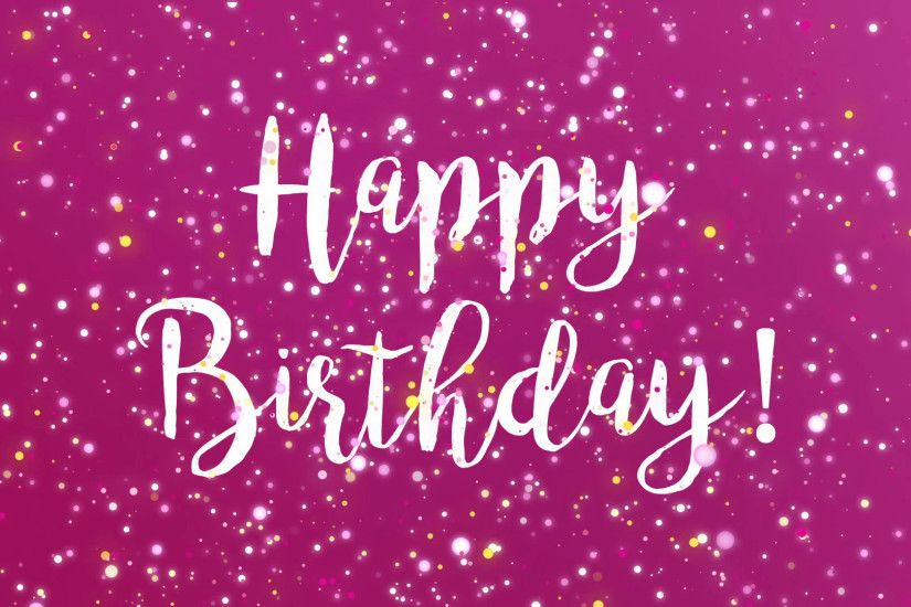 Sparkly Happy Birthday greeting card video animation with handwritten text  and colorful glitter particles flickering on purple background Motion  Background ...